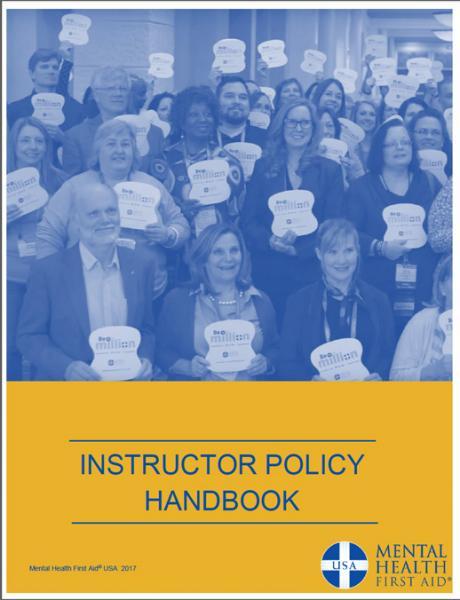 mental health first aid instructor policy handbook mental health